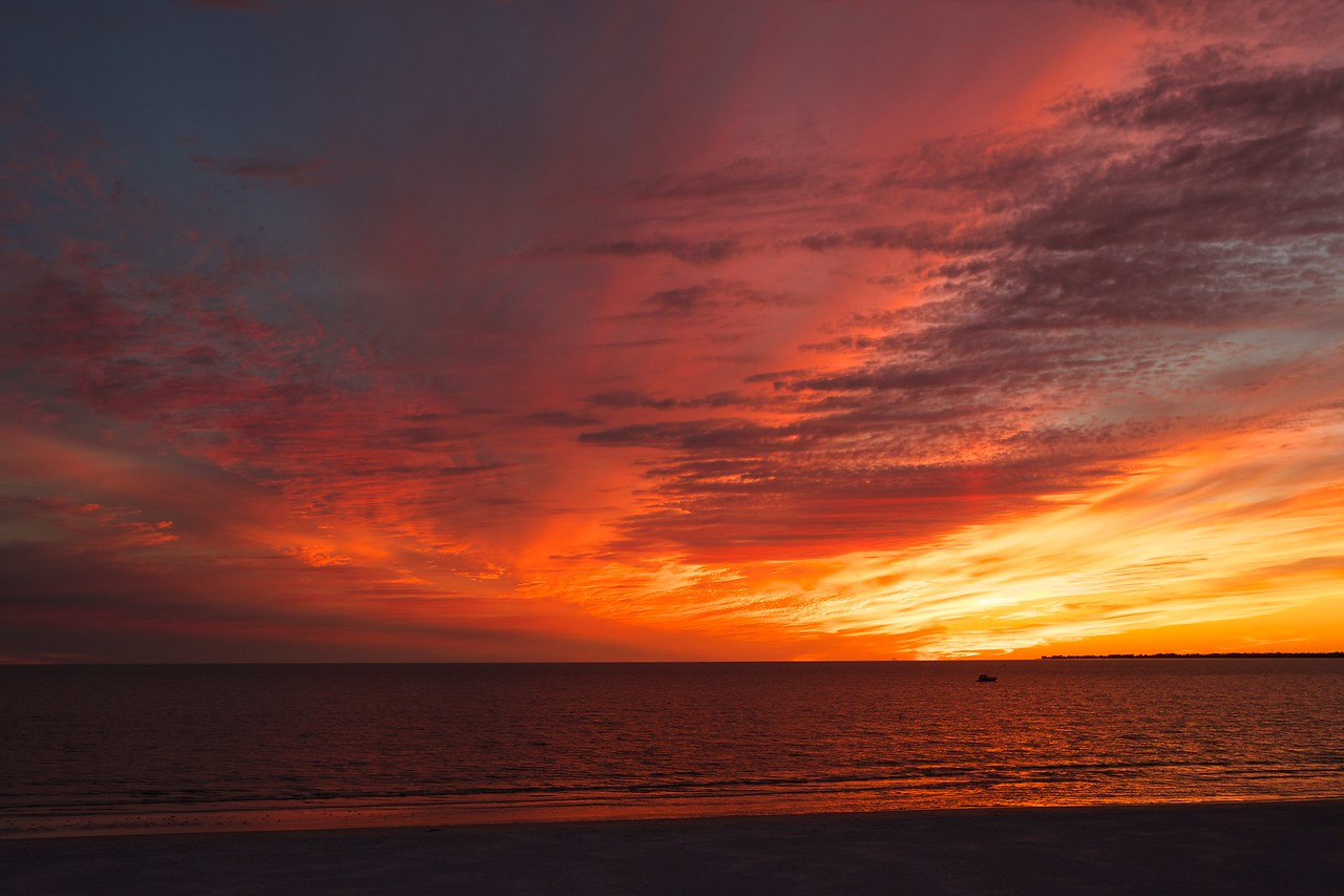 sunset over the gulf